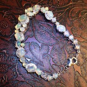 "Sterling silver natural opal Cz bracelet 6.8"""